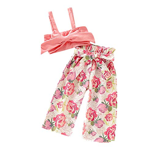 Great Deal! (6M-4T)Ikevan Baby Outfits Toddler Baby Girls Sleeveless Solid Bow Vest Tops+Flower ...