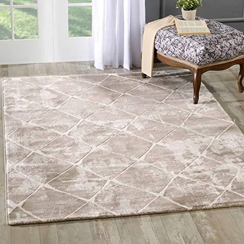 mynes Home Designer Teppich in Beige Modern Liniert und Meliert Berber Look mit Bordüre MY3211...