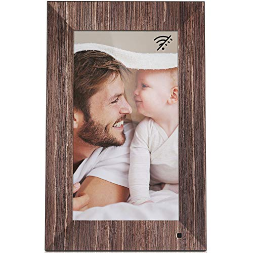 NIX Lux 13 Inch Digital Picture Frame (Wood) - Full HD IPS Display, Auto-Rotate, Motion Sensor, Remote Control