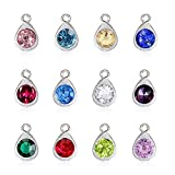 pengxiaomei 48 pcs Crystal Birthstone Dangle Charms, Stainless Steel Water Drop Pendants Rhinestone Teardrop Pendants for Jewelry Making Jewelry Bracelets Earrings Necklace, Assorted Colors(10mm)