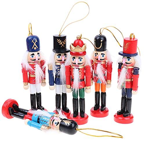 6 Pezzi Soldato di schiaccianoci Decorazioni Natalizie Soldato di schiaccianoci di di Legno 12 cm Ornamenti di schiaccianoci di Natale per Decorazione di Natale