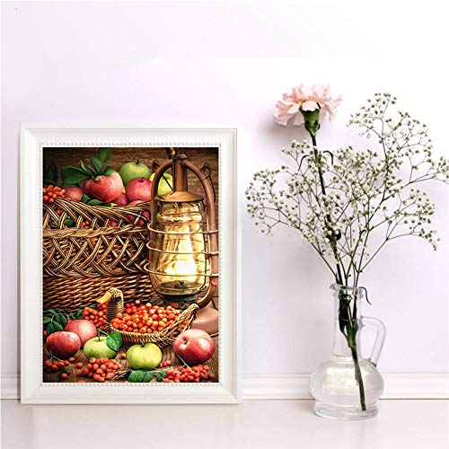 5D DIY Kit Pintura Diamantes Lámpara Fruta Cuadros Completo Cristal Diamond Painting Diamante Arte Diamante Bordado Punto De Cruz Arte Manualidades Home Sala Estar Pared Decoración 80x100cm A1920