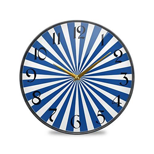 ART VVIES Reloj de Pared Redondo de 9,5 Pulgadas Que no Hace tictac silencioso Funciona con Pilas Oficina Cocina Dormitorio decoración del hogar-Rayos