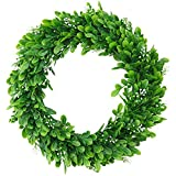 "ElaDeco 15"" Faux Boxwood Wreath Artificial Green Leaves Wreath for Front Door Wall Window Hanging Wedding Party Decoration"