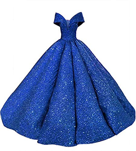 APLbridal Women's Sequins Quinceanera Dresses Long Off Shoulder Ruffles Wedding Prom Ball Gown 2019 AL035 Royal Blue