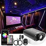 CHINLY Bluetooth 16W RGBW LED Kit de luces de techo de estrella de fibra óptica APLICACIÓN / Control remoto Mezclado 450pcs * (0.75 + 1.0 + 1.5mm) Fibra óptica de 3m para el hogar / el automóvil