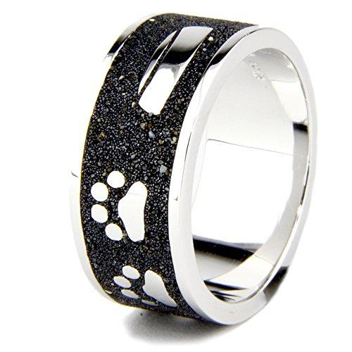 DUR Ring | Hund Pfote Knochen Napf | 925er Sterling Silber und Lava-Sand (52 (16.6))