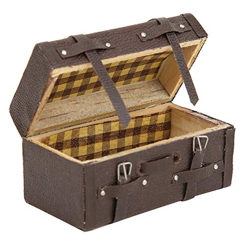 Dollhouse Mini 1:12 Maleta Tela Estilo, clásico Maleta en Miniatura Retro de Madera Accesorios de la casa de muñecas Juguete para niños Regalo de cumpleaños