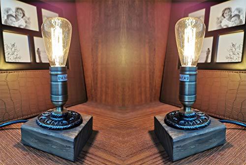 XIHOME Lámpara de mesa de madera vintage,estilo retro, industrial, para la cama, el dormitorio, el salón, el comedor, la cafetería, el estudio, el pasillo, la decoración del hogar, bombillas LED E14