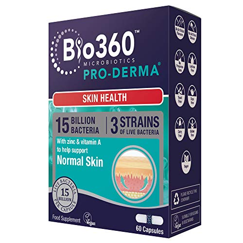Bio360 Pro-Derma (15 Billion Bacteria)|from Natures Aid|Skin Health*|60 Capsules