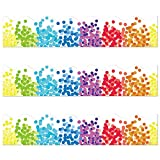 Rainbow Confetti Border Trim - Bulletin Borders Stickers, 50 ft Back-to-School Decoration Borders for Bulletin Board/Black Board Trim, Teacher/Student Use for Classroom/School Decoration