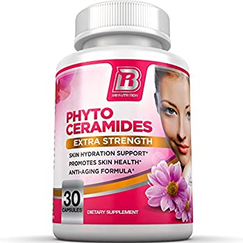 BRI Nutrition Phytoceramides - Natural Anti-Aging Skin & Hair Vitamins for Collagen Boost & Rejuvenation w Vitamins A + C + D + E - 350mg per Serving  1 Vegetable Cellulose Capsule  - 30 Count