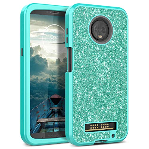 Motorola Moto Z3 Play Case, WeLoveCase Luxury Glitter Sparkle Bling Cases 3 in 1 Shockproof Three Layer Heavy Duty Hybrid Protective Cover Case for Motorola Moto Z3 Play Mint