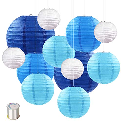 Papierlaterne (12 Stück) blau / weiß
