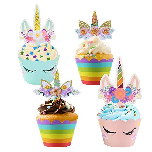 50pcs Licorne Cupcake Toppers et Cupcake Wrappers, Licorne Décorations Gâteau/Caissette Cupcake pour Noël Mariage Douche de Bébé Fête d'anniversaire Licorne Décoration (Bleu Rose Blanc Arc en ciel)