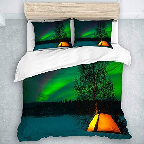 Juego de Funda nórdica, Tienda de campaña Northern Lights bajo Imagen de Naturaleza de Campo magnético, con Cremallera Cloure 3 Piezas