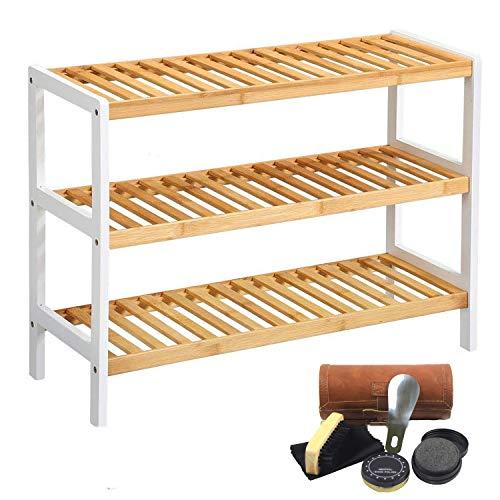 ZWNLL Zapatero de bambú de 3 niveles, organizador multifuncional de gran capacidad, almacenamiento de zapatos de hasta 12 pares, perfecto para pasillo, dormitorio, baño, espacios pequeños