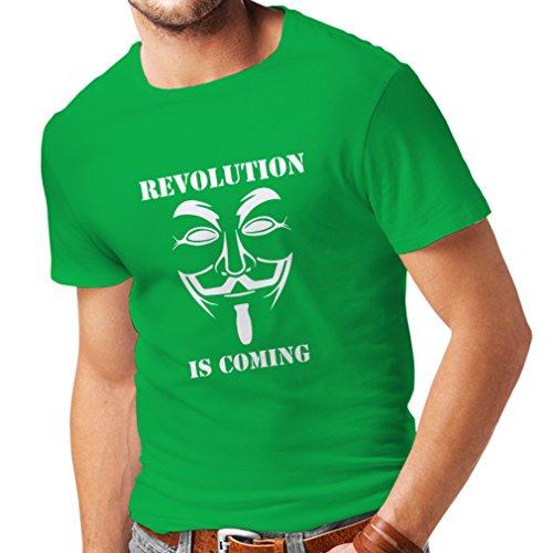 lepni.me Camisetas Hombre La Revolución se Acerca Hackers Anónimos Legión V para Vendetta (Medium Verde Blanco)