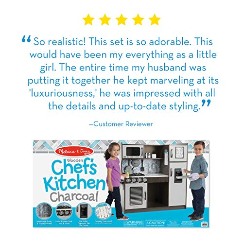 Melissa & Doug Wooden Chef Play Kitchen is one of the best wooden play kitchens for kids