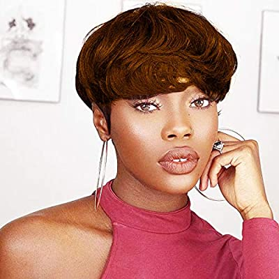 Nuyoah Black Short Human Hair Wigs Pixie Cut Straight Remy Hair With Bangs Short Layered Wavy 1B Off Black Color Wig For Black Women