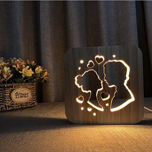 OOFAY Night Light@ 3D Illusion Lampe LED Veilleuse Créatif Embrasser La Saint-Valentin Lumières Sculpture Art du Bois Lampe De Tableau/Lumière d'alimentation D'usb+Changer De Ligne De Données