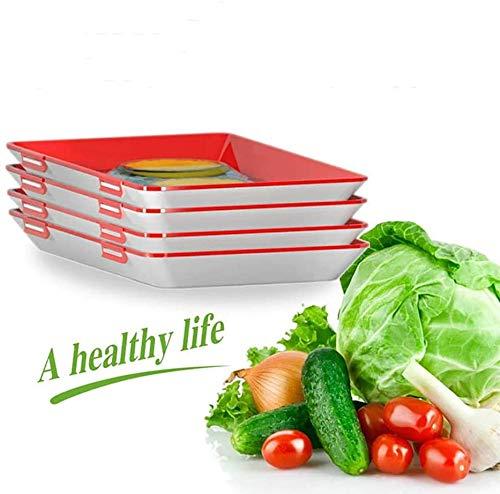 Timess Kreative Lebensmittelkonservierung Tablett Lebensmittelkonservierungsschale Gesunde Vakuum Frische Aufbewahrung Tablett Mit Elastischen Film Schnalle Dichtung Vorratsbehälter Set (4pcs)