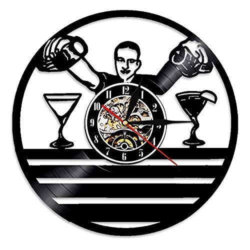 Reloj De Pared Reloj de Pared Vintage con Servicio de Barman Hecho de Disco de Vinilo Bar de vinos catador de Cerveza Reloj Colgante de Pared Regalo de Cuarzo silencioso (30cm)