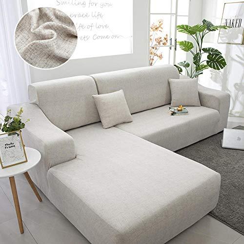 ZJXSNEH Sofa Überwürfe Sofabezug Elastische Stretch Sofabezüge für L-Form Sofa Abdeckung Hellgrau j 2seater + 3seater