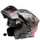 Bluetooth Moto, Caschi Doppia Lente FM DOT Caschi Flip Up Itineranti Built-In Dual-Altopar...