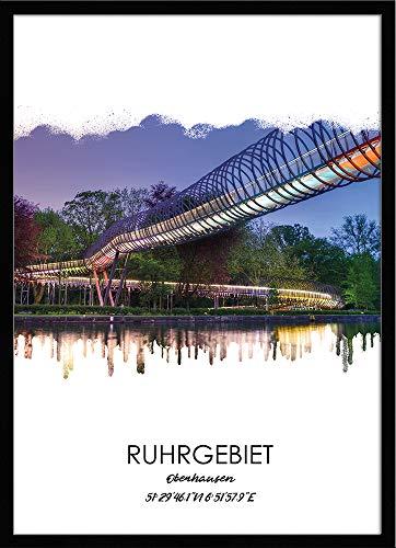 artissimo, Design-Edition, Ruhrgebiets-Bild gerahmt, 51x71cm, PE6454-ER, Ruhrgebiet: Stadt Oberhausen, Bild, Wandbild mit Rahmen, gerahmtes Poster, Geschenk-Idee Ruhrpott, Geschenk Ruhrgebiet
