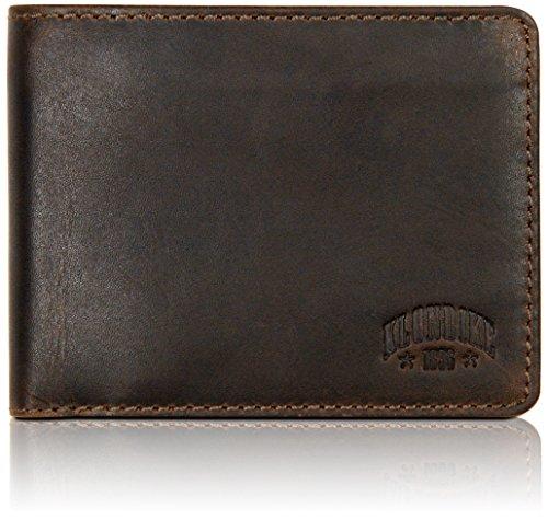 Klondike 1896 Echtleder Geldbörse im Querformat Amos, edles Portemonnaie mit Klappfach aus echtem Leder, Dunkelbraun