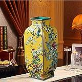 suxiaopei Color Pastel Adornos Antiguos Jingdezhen jarrn de cermica decoracin de Arte Chino Amarillo Alto 35 Vientre 14 cm