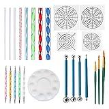 Winthai - Juego de 25 mandalas, mandala, pintura de mandala, herramientas de punto, punto, pinceles, mandala, plantilla de bola, lápiz capacitivo, bandeja para pintura de rocas, dibujo