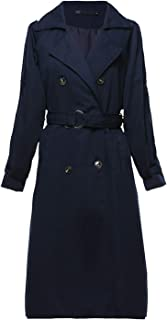 Yeokou Women's Causal Double Breasted Spring Fall Long Trench Coat with Belt