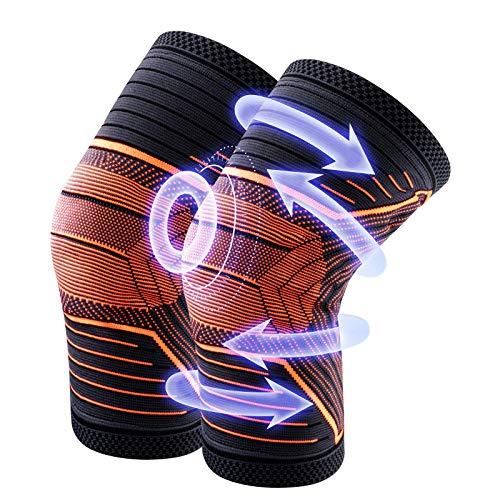 MUSCCCM Kniebandage, 2 Stück Kniebandage Sport rutschfeste Atmungsaktiv, Professioneller Schutz Kompression Knieschoner für Damen Herren,Knieschützer Für Basketball Bergsteigen Volleyball Laufen