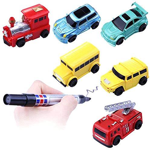 Waroomss Wagon de inducción automática para niños, vagón de inducción con bolígrafo con Coche y Juguete teledirigido, vagón de inducción para Tren de Marcado de Juguetes del Tren (Colores aleatorios)