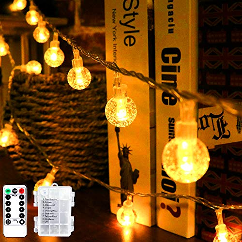 String Fairy Lights, 24 ft/50 LED Globe Fairy Lights with Remote, Battery Powered and 8 Modes, Indoor String Lights for Christmas, Bedroom, Patio, Gazebo and Wedding Decor (Warm White)