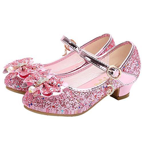 YOSICIL Zapatos de Lentejuelas Niñas Princesa Zapatos de Tacón Antideslizante Zapatillas de Baile con Velcro para Regalo Cumpleaños Sandalias de Vestir Fiesta Boda Infantil 3-14Años EU24-36