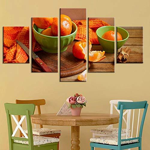 Gbwzz 5 stuks schilderijen op canvas D poster Home Decoration 5 stuks oranje Fruit Painting Modern Wall Art Pictures Living Frame Modulaire Frame 30x40 30x60 30x80cm