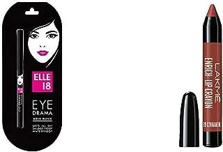Elle 18 Eye Drama Kajal, Bold Black, 0.35g & Lakme Enrich Lip Crayon, Cinnamon Brown, 2.2g