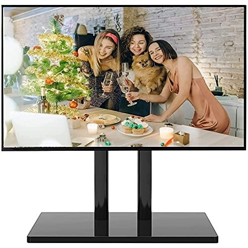 Soporte de TV de mesa para TV de 32/40/43/55/60/65/70 pulgadas, soporte de TV, mesa, dormitorio / sala de estar, soporte de TV universal de metal negro, altura ajustable de 4 niveles, carga de 70 kg