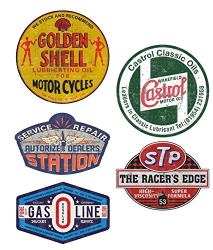 MG616 / Aufkleber Set Gasoline Breite je ca. 6,5cm Shell STP Hot Rod Shop Sticker Retro Oil Vintage Oldtimer Old School