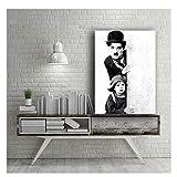 ZFLSGWZ Toile Peinture Photos Impressions Noir Blanc Classique Charles Chaplin Film Mur Oeuvre Affiche pour Salon Décor À La Maison-50X70 Cm Pas De Cadre