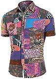 JDENNLX Camisa hawaiana para hombre con estampado de flores vintage y manga corta con botones