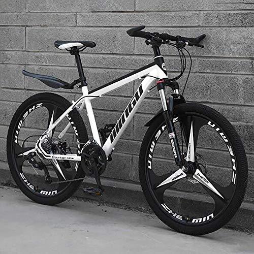 WLKQ 26 Zoll Mountainbike - Mountain Bike - Herren Bike - Jugendrad - Scheibenbremsen Hardtail MTB, Trekkingrad Herren Bike Mädchen-Fahrrad, Vollfederung Mountain Bike,White 3 Spoke,21 Speed