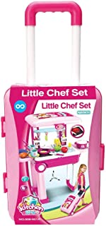Little Chef 2 in 1 Kitchen Play Set, Pretend Play Luggage Kitchen Kit for Kids with Suitcase Trolley, Multi Color with Lig...