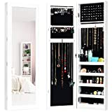 Giantex Wall Door Mounted Jewelry Armoire Cabinet with Full-Length Mirror, Large Storage Mirrored Jewelry Cabinet Organizer with Ring Earring Slots, Necklace Hooks, Storage Shelves, White