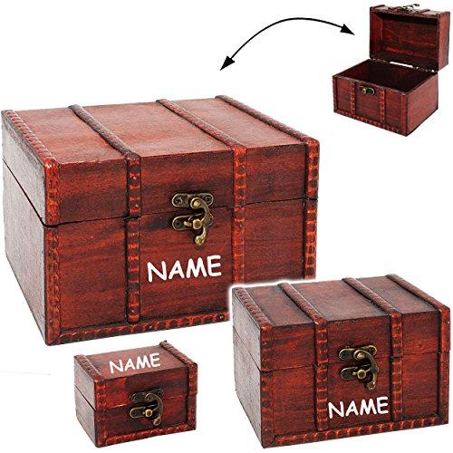 alles-meine.de GmbH mittlere - Holz - Schatzkiste / Schatztruhe - aus Holz - inkl. Name - Kiste & Truhe - Holzkästchen klein - Holzschatulle - Schmuckkasten - Holzkiste mit Decke..
