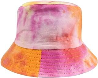 Hats Fashion Gradient Print Bucket Hat Fisherman Hats Student Summer Sun Hat Reversible Packable Cap Fashion (Color : Orange, Size : Free Size)