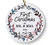 First Christmas as Mr and Mrs 2020 Wedding Christmas Ornament, Couples Wedding Present, Floral Wreath 3' Flat Ceramic Ornament with Gift Box